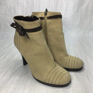 Tommy Girl Tan Brown Suede Bow High Ankle Booties